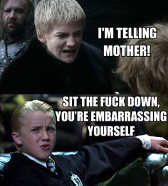 Joffrey from Game of Thrones and Draco Malfoy from Harry Potter. This made me laugh harder than it should have. Nerd Love, My Love, Game Of Thrones Wallpaper, The Meta Picture, Bon Film, Got Memes, Funny Memes, Movie Memes, My Sun And Stars
