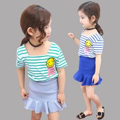 summer clothing sets for girls short sleeve t-shirts kids skirts 2pcs/set cotton striped girls outfits 2 3 4 5 7 8 9 11 12 years #Affiliate