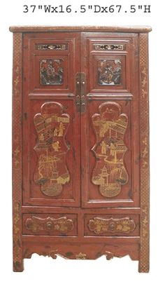 Red Chinese Antique Gold Flower Painting Carving Armoire Cabinet - Golden Lotus Antiques
