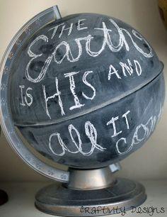 DIY Anthro Chalkboard Globe Knock Off