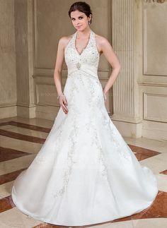 Forme Princesse Dos nu Traîne mi-longue Satiné Robe de mariée avec Plissé Dentelle Emperler (002005823)
