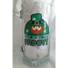 "St. Patrick's Day Mug ""Who's your Paddy 24 oz. solid glass, drinkware,... ($11) via Polyvore featuring home, kitchen & dining, drinkware, glass mugs, glass drinkware, beer mug, freezer mug and root beer mug"