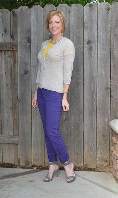 Purple + yellow + gray #outfit #polkadots Calvin Klein Viviana heels