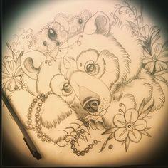 Princess bear for next week. Very rough sketch Princess bear for next week. Very rough sketch Best Tattoos For Women, Tattoo Designs For Women, Purple Flower Tattoos, Lion Sketch, Clock Tattoo Design, Bear Tattoos, Neo Trad, Tattoo Apprentice, Bear Art