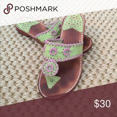 Stephen Bonanno Palm Beach Sandals Fun pink and green! Worn--but still in good condition Shoes Sandals