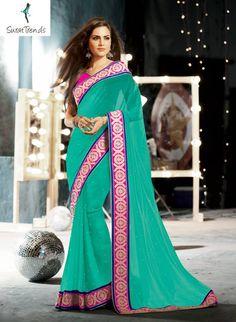 PATCH BORDER WORK GREEN DESIGNER #SAREE Fabric: #Georgette Code: SMR1309