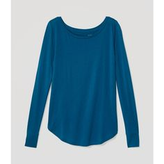 LOFT Shirttail Tee ($25) ❤ liked on Polyvore featuring tops, t-shirts, amazon turquoise, longsleeve tee, blue long sleeve tee, scoop-neck tees, blue tee and long sleeve scoop neck tee