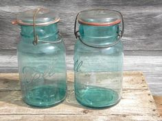 1908 Ball Ideal 1 qt storage jars or canisters blue glass w/lightening lids