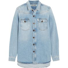 Off-White Hand-painted denim shirt ($475) ❤ liked on Polyvore featuring tops, blue, long sleeve denim shirt, striped shirt, long-sleeve shirt, blue denim shirt and striped top