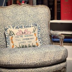 bunny-mellon-estate-needlepoint-pillow - The Glam Pad Bunny Mellon, Needlepoint Pillows, Needlepoint Canvases, Needlepoint Stitches, Navy Blue Accent Chair, Somebunny Loves You, King Of Queens, Living Room White, Living Rooms