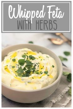Whipped Feta with Herbs - a great dip for your next party   great accompaniment for lamb   lamb roast   roast lamb   lamb chops   lamb cutlets   whipped feta with fresh herbs   sour cream feta dip   feta dip