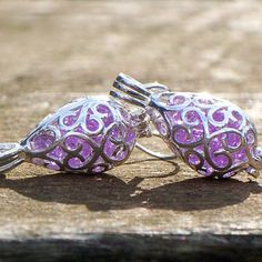 Buy Recycled Antique Glass Silver Filigree Teardrop Earrings by Bottled Up Designs on OpenSky
