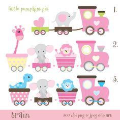 Train Clipart, Baby Animals Train Clipart, Pastel Clipart Baby, Cute Elephant…