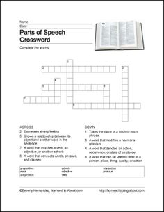 Parts of Speech Wordsearch, Crossword Puzzle, and More: Parts of Speech Crossword Puzzle