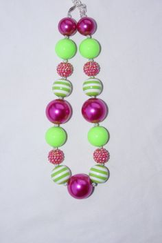 Hot Pink and Lime Chunky Beaded Necklace by AudiesFrosting on Etsy, $20.00
