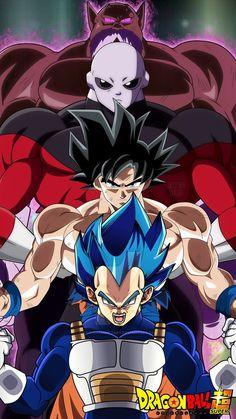Vegeta, Goku, Jiren, and Toppo