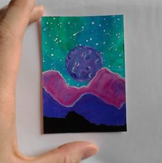 Stars Moon and Mountains, ACEO original painting £5.00