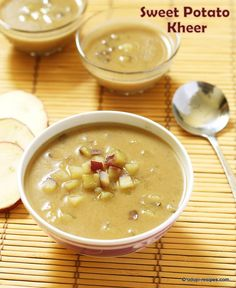 Home made coconut milk and jaggery based sweet potato kheer is way too healthy with a veggie included in it. Sweet Potato Recipe Indian, Sweet Potato Recipes, Indian Beef Recipes, Goan Recipes, Indian Soup, Indian Dishes, Vegetarian Platter, Vegetarian Recipes, Indian Breakfast