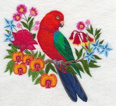 Australian King Parrot with Flowers design (L2806) from www.Emblibrary.com