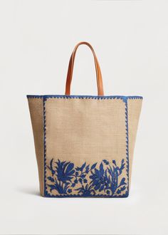 Shopper bag made of jute - Large sizes Violeta by Mango Germany - Lilly is Love Fabric Handbags, Fabric Bags, Jute Shopping Bags, Mint Bag, Embroidery Bags, Craft Bags, Denim Bag, Shopper Bag, Clutch