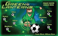 Green Lanterns B54023  digitally printed vinyl soccer sports team banner. Made in the USA and shipped fast by BannersUSA.  You can easily create a similar banner using our Live Designer where you can manipulate ALL of the elements of ANY template.  You can change colors, add/change/remove text and graphics and resize the elements of your design, making it completely your own creation.