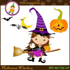 HALLOWEEN BRUJERÍA C209. Clip art en archivos por LittlePumpkinsPix