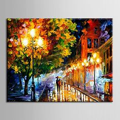 Oil Painting Decoration Abstract Night Scene Hand Painted Canvas with Stretched Framed 2016 - $69.99