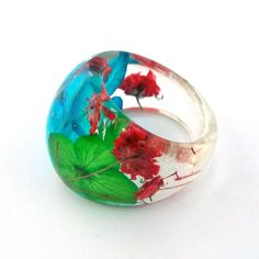 Resin Ring. Pressed Flower Resin Ring. by SpottedDogAsheville