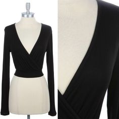 Solid Long Sleeve Deep V Neck Cropped Top Plain Sexy Stylish Rayon Span S M L #OLM #CropTop #Clubwear