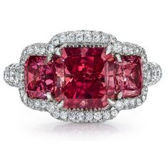 3 Stone Fancy Vivid Pink Diamond Ring