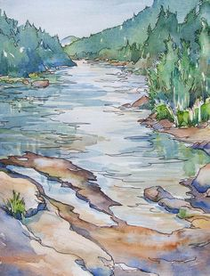 Sort of the best river time, this watercolor captures the quiet of Evening on the River.  An original painting by Kim Solga at BlueOtterArt on Etsy.