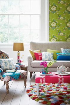 Colourful living room decor by cathy Colourful Living Room, Eclectic Living Room, Boho Living Room, Home And Living, Living Room Decor, Bohemian Living, Living Area, Living Rooms, Style At Home