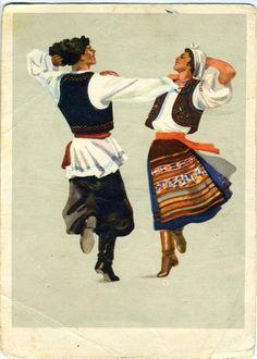 Moldova traditional dance postcard Vintage postcard USSR, traditional costume folk pattern o Folk Costume, Costumes, Costume Ideas, Ballet Russe, Dancing Drawings, Traditional Paint, Folk Dance, Vintage Postcards, Europe