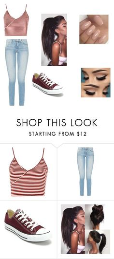 """what should i call this.... uhm i will say cute"" ❤ liked on Polyvore featuring Topshop and Converse"
