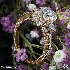 18k Rose Gold Verragio Beaded Shared-Prong 3 Stone Engagement Ring from the Verragio Venetian Collection.