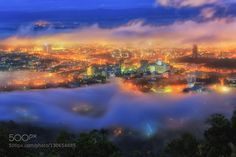 Hat yai in the mist - Pinned by Mak Khalaf The city of Hat Yai in southern Thailand . When the fog hit city City and Architecture architecturecitycloudsfoghat yaihatyailightmistmorningnightskysonsongkhlasunrisethailandtravelwater by sorawit