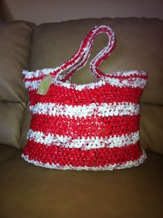 Large Plarn Tote Bag by TwistedCloverDesigns on Etsy, $22.50