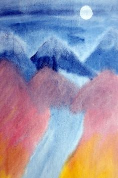 Waldorf ~ 5th grade ~ Ancient India ~ Himalaya Mountains & Ganges River ~ watercolor painting