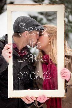 Window Pane Save The Date Photo Idea. See more here: 27 Cute Save the Date Photo Ideas | Confetti Daydreams ♥  ♥  ♥ LIKE US ON FB: www.facebook.com/confettidaydreams  ♥  ♥  ♥ #Wedding #SaveTheDate #PhotoIdeas