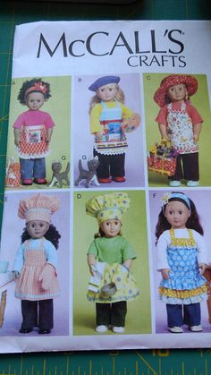 McCalls craft sewing pattern 6451. Pattern is for 18 dolls. Instructions to make pants, top, apron, bag, headband, chef hat, oven mitt and a cat. Pattern is cut all pieces are in envelope Pattern and envelope are in good condition