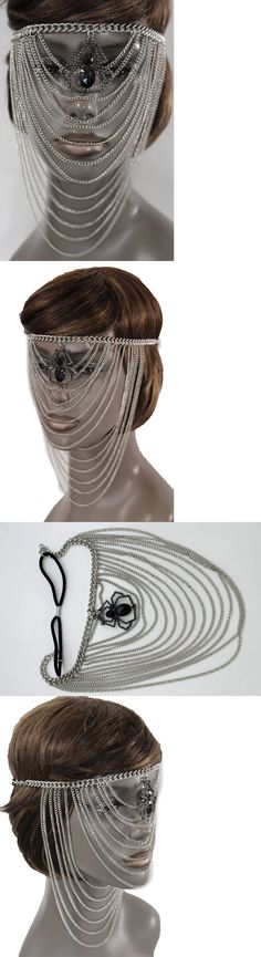 Hair and Head Jewelry 110620: Women Silver Metal Chain Head Face Mask Fashion Jewelry Spider Web Net Halloween BUY IT NOW ONLY: $49.99