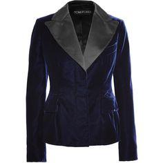 TOM FORD Satin-trimmed velvet blazer (19.986.260 IDR) ❤ liked on Polyvore featuring outerwear, jackets, blazers, tom ford, midnight blue, tom ford blazer, tailored jacket, blue velvet blazer, slim fit blue blazer and blue blazer jacket