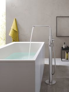 Grohe America, Inc. 23 792 1 Lineare Floor Mounted Tub Filler with Built-In Diverter - - Starlight Chrome, starlight Grey Clawfoot Tub Faucet, Roman Tub Faucets, Bathroom Faucets, Bathtub, Bathroom Hardware, Bathroom Interior, Modern Bathroom, Bathroom Ideas, Freestanding Tub Filler