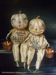 Halloween Folk Art by Melissa Valeriote. I love these pumpkin head kids.