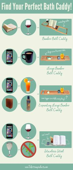 Which bathtub caddy works best for you? It depends on what you like to have handy while enjoying a relaxing soak!