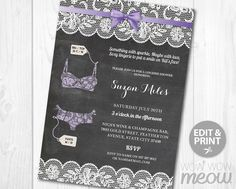 Lingerie Shower Invitation Lace Rustic Chalk Invite by wowwowmeow