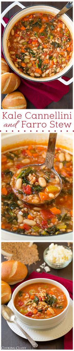 Kale Cannellini and Farro Stew with Feta - this is one of my new favorite soups! It's so hearty and so healthy!
