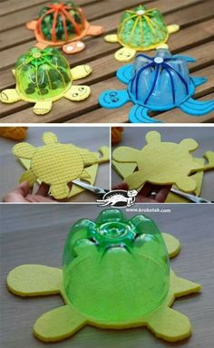 Plastic Bottles And Their Creative Applications - Best Craft Projects Kids Crafts, Summer Crafts, Creative Crafts, Preschool Crafts, Easy Crafts, Craft Projects, Craft Ideas, Plastic Bottle Crafts, Diy Bottle