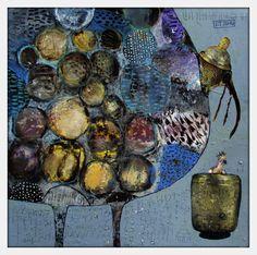 Elke Trittel acrylic collage 30x30cm