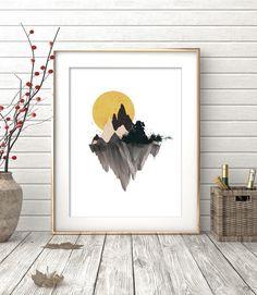 Acuarela, imprimir acuarela, impresión de montaña, montaña de la acuarela, Art…